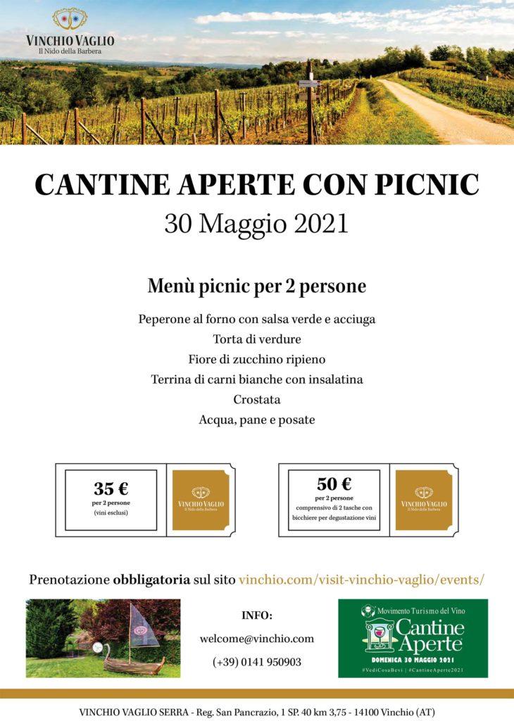 Locandina Cantine aperte con picnic 30 Maggio 2021 | Vinchio Vaglio