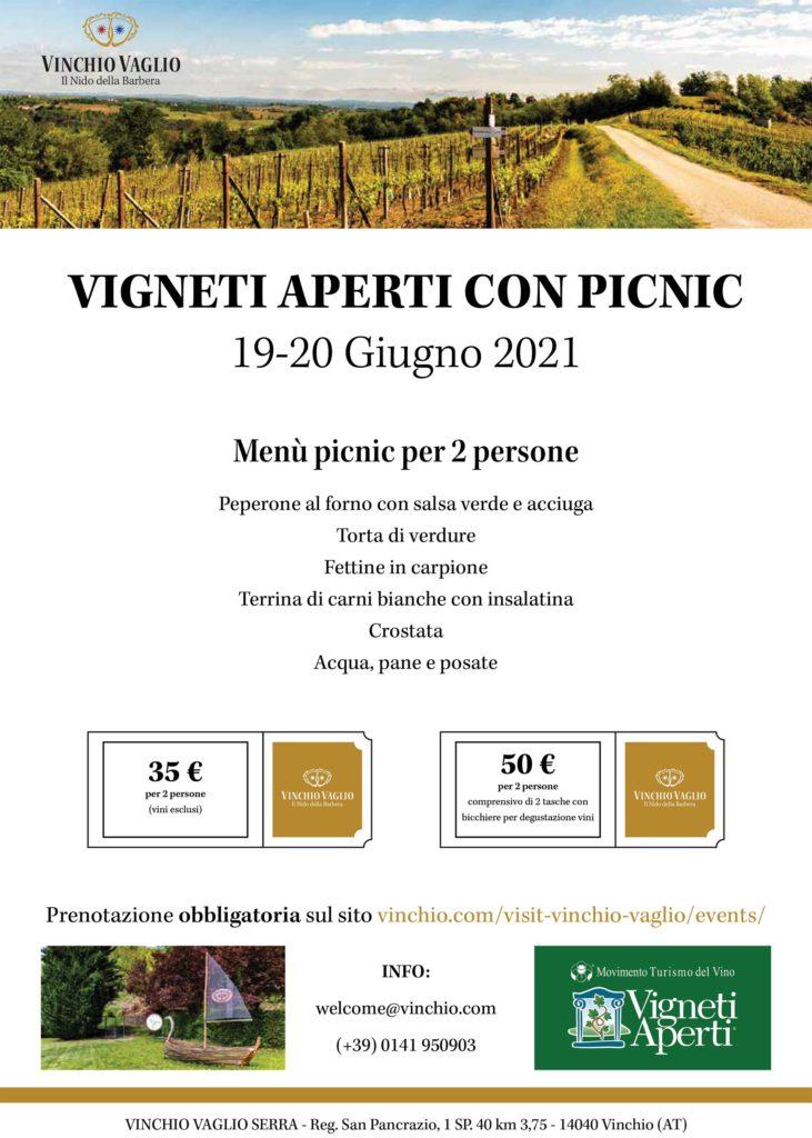 Locandina Vigneti Aperti con picnic 19-20 giugno 2021 | Vinchio Vaglio